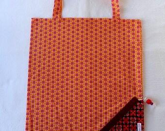 Tote Bag / eco-friendly tote bag / foldable clutch bag - orange flowers