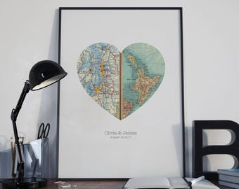 Personalized Map Art, Engagement Gift, Unique Wedding Gift, For Couples, Anniversary, Map Heart Print sale