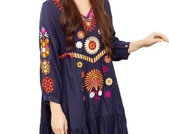 Women cotton tunic embroidered dress, boho bohemian hippie gypsy dress, long sleeve dress, navy, S, M, L, loose dress, v neck dress,