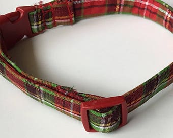 Red & Green Plaid Christmas Collar for Dogs and Cats