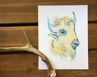 Blue Eyes Print | Buffalo Print |  Bison Print | Buffalo Nursery Art | Buffalo |Bison wall art |Buffalo art | Wall Art | Art Print, Creature