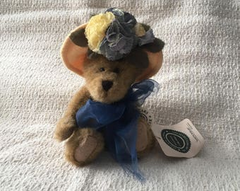 """Boyd's Bears, Nanette DuBeary, Jointed Brown Bear, Blue Floral Yellow Hat, Blue Tulle Bow, 6"""", Poseable Plush Bear"""