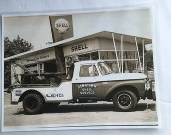 Laminated Photocopy Ford 250 350 Wrecker Truck Shell Gas Station Black and White Art