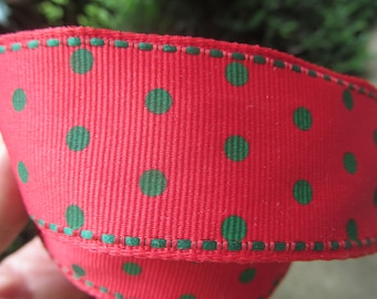 Wired Ribbon - Red with   green Polka Dots  - 28 Feet