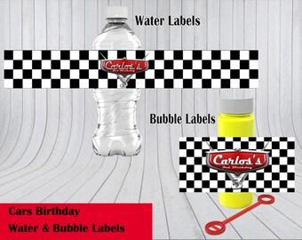 Disney's Cars Theme Water & Bubble Label