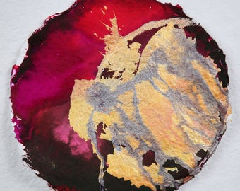 Burgundy Gold Painting, Round Painting, Abstract Painting, Abstract Art, Ink Painting, Round Wall Art, Circle Painting