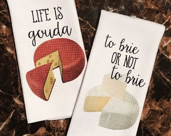 Cheese Decor   Funny Kitchen Towels   Cheese Towels   Cheesy Puns   Kitchen  Decor
