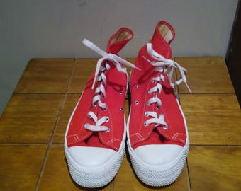 Mens Vintage Red Canvas Sneakers Size 7 Made In USA