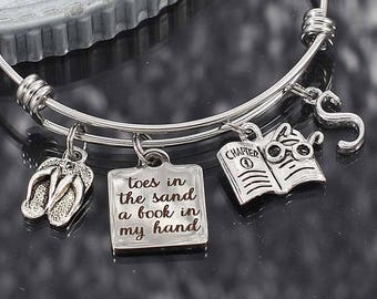 Beach Vacation Charm Bracelet, Toes in the Sand Book in my Hand bangle bracelet with charms, girls weekend gift, bracelet for women