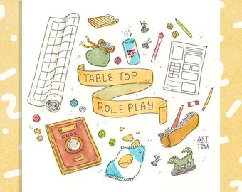 """Tabletop Roleplay (Little Things) 5x5"""" Print"""