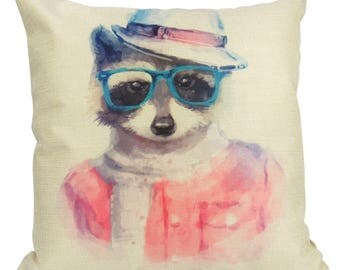 Hipster Raccoon-  Pillow Cover