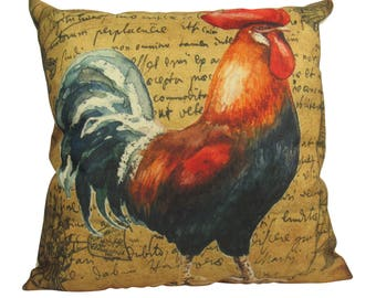 Vintage Colorful  Farm Rooster - Pillow Cover