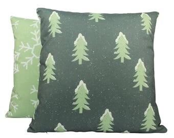 Christmas Trees   Throw Pillow   Pillow Cover   Snow Flakes   Trees   Home Decor   Winter Decor   Pillow   Rustic Decor   Cabin Decor   Xmas