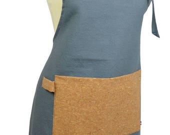 Kitchen apron in grey fabric cotton fabric and Cork