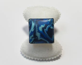 "Ring ""PC Blue Marbled 2"""