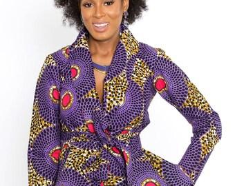 D'iyanu Diola African Print Ankara Blazer Peplum Top (purple/pink) Plus Size S-3xl