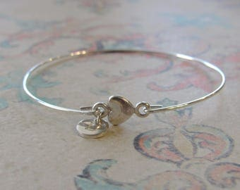 Forever In My Heart  Bracelet, miscarriage, miscarriage bracelet, silver heart bangle, infant loss gift, baby loss, child loss, mothers day