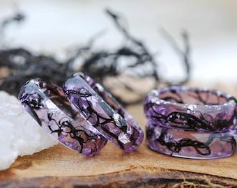 Mermaid Ring, Ocean Ring, Nature Ring, Faceted Purple Resin Ring, Stacking Ring, Silver Flakes Ring, Seaweed Ring Summer Ring, Nautical Ring