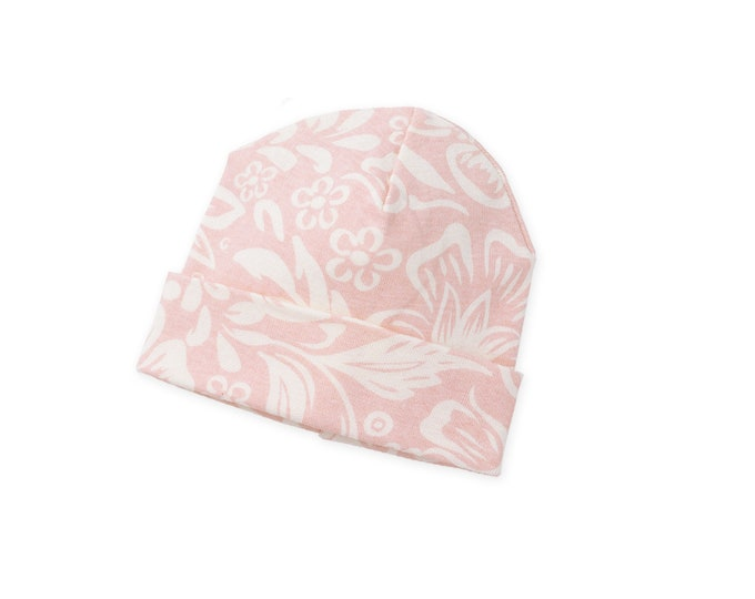 Baby Girl Hat, Newborn Girl Beanie, Pink Floral Girl Outfit, TesaBabe