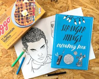 Stranger Things Colouring Book, eleven, the upside down, adult colouring book, geek gift, steve harrington, eggos, stocking filler