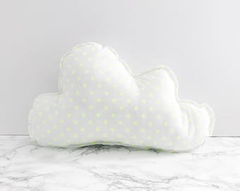 White + Fluro Yellow Spotted Cotton Cloud Cushion