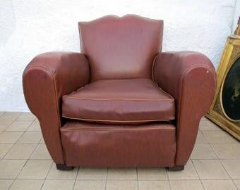 French Moustache Back Chair, Club Chair, Mid Century Club Chair, French Chair, Faux Leather Chair, Mustache Chair, Vintage Club Chair
