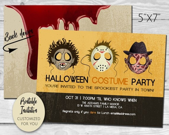 Halloween Costume Party Horror Movie Monsters Retro Style