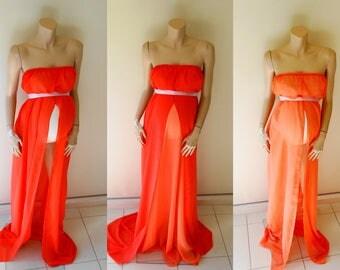 Orange Chiffon Maternity Dresses #rts