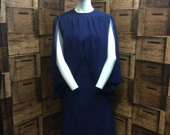 Peggy French navy 1960/70 vintage dress, cape dress, large size vintage, evening dress, party dress, couture vintage dress, hatty jakes