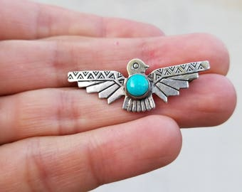 Vintage Sterling Silver and Turquoise Thunderbird Pin Brooch Fred Harvey Era Native American