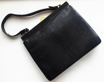 Vintage black leather handbag purse classic pristine condition