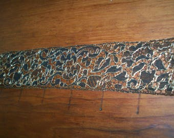 Metallic gold/black silk lace 1910s authentic yardage by the yard