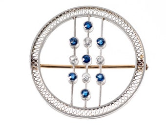 Art Deco Platinum 14k sapphires & diamonds bubbles/circles brooch