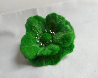 Felted Wool Flower,green felted flower,Felted brooch, Unique,Hair pins poppy,felt flower brooch,felt flower,felting flower,felt wool jewelry