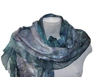 Felted Wool Scarf  Grey Blue  Silk Shawl Nuno Felted Scarf Wrap Wool Silk Women Scarf Felt wool silk scarf Unique  Mothers day gift ideas