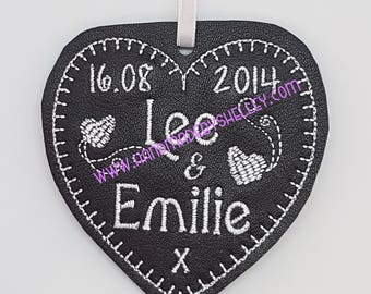 3rd Wedding Anniversary Leather Personalised Heart Gift Husband Wife Him Her