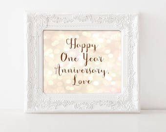 Anniversary Print, Happy One Year Anniversary Love Printed sign, Pastel bokeh party prop, romantic poster for husband or wife 5x7 8x10 11x14