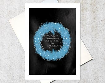 Grief Card, Sympathy Card, loss of loved one, blue feather wreath card, secular condolences skeptic thinking of you card BLANK inside 5x7