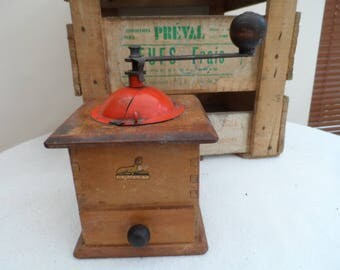 Vintage French all original Coffee Grinder 'Moulin à Café'  Marked Cafe GRULET with Sphinx Logo Wood Body Orange Metal top Great Colour.