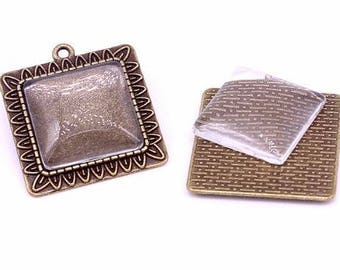 One Antique Bronze Effect Square Pendant Blank Bezel Tray Setting // with Clear Glass Cabochon // APB026