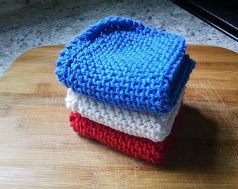 Knit Dish Cloth Set of 3, Red White Blue Knit Dish Cloth, Knit Wash Cloth, Knit Dishcloth