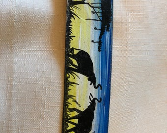 Hand painted leather bookmark - two elephants - bkmk2-09
