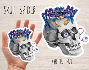 Spider & skull vinyl sticker, cool laptop stickers decal, planner stickers, cool stickers Halloween scary funny skateboard iphone sticker