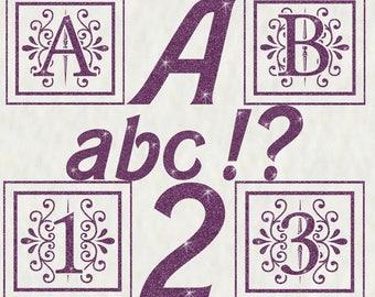 Purple Glitter Alphabet & Numbers Mega Pack Instant Download Digital Download