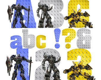 Transformers Alphabet   Instant Download   Digital Letters and Numbers   Printable Letters and Numbers   Transformers Font Clipart