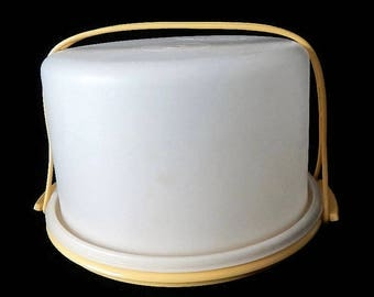 """Vintage Tupperware 3pc 10"""" Round Cake Taker with Handle - sheer, harvest gold - 1970s - #684, 683, 624, storage, cake carrier, pies, party"""