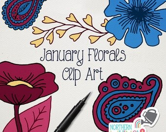 "Flower Clip Art - ""January Floral Clipart"" - flowers and leaves to coordinate with our January Floral digital paper - commercial use CU OK"