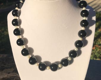Genuine Onyx and Freshwater Pearl Necklace