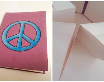 Peace concertina notebook/watercolor pad, purple