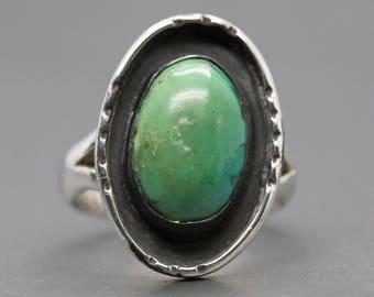 Vintage Southwestern Green Turquoise Sterling Silver Ring, Green Turquoise Ring, Southwestern Green Turquoise Ring, Vintage Turquoise Ring